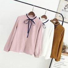 2017 autumn blouse new long-sleeved shirt wild big shirt female bow knot temperament shirt blouse