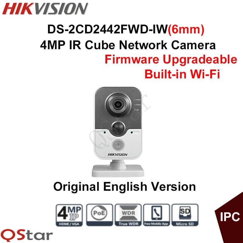 Hikvision Original English Version Surveillance Camera DS-2CD2442FWD-IW(6mm) 4MP Mini IP Cube Camera WIFI CCTV Camera P2P Onvif 2016 hikvision new arrive english version ip camera ds 2cd2t52 i5 5mp cctv camera 50m ir surveillance camera