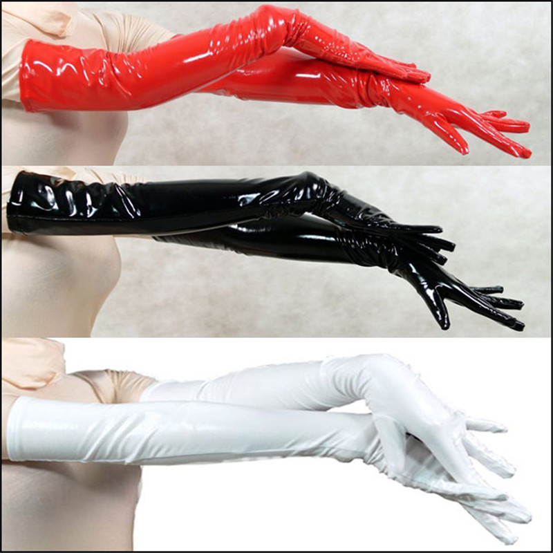 2018 Pair Wholesale Genuine PVC Vinyl Lycra Spandex Zentai Long Black/Red Opera Gloves Unisex Latex Bondage Clubwear PVC Gloves