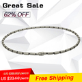 Noprooblem P061 L(52cm)  power ion balance band health charm therapy energy tourmaline Choker Titanium beads necklaces