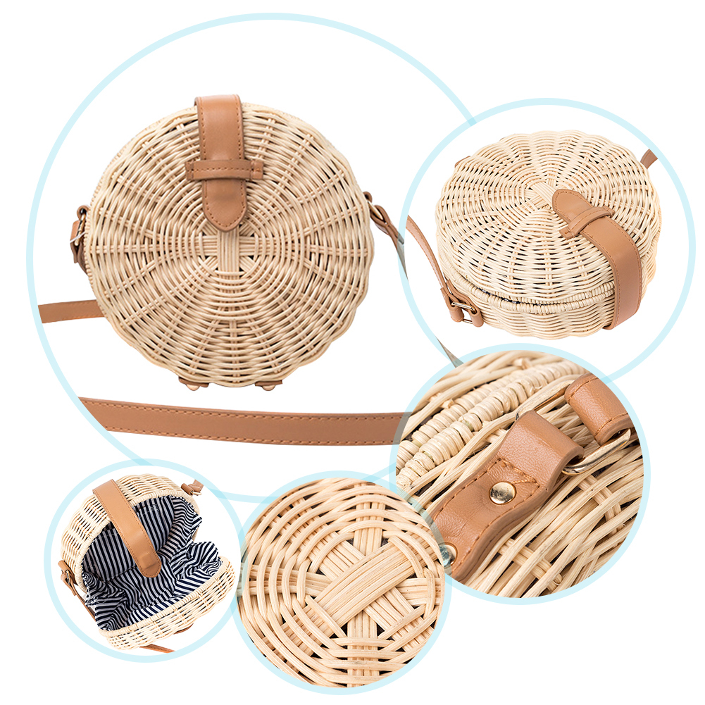 Camping Hiking Outdoor Bag Gadgets Beach Handmade Rattan Woven Round Handbag Retro Straw