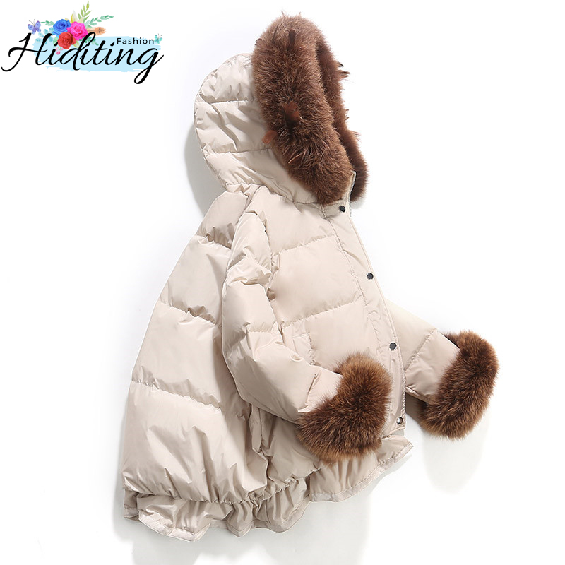 Women Down Jackets Winter Female Short Coats 2019 New Fashion Sweet Warm Overcoat Large Fur Collar