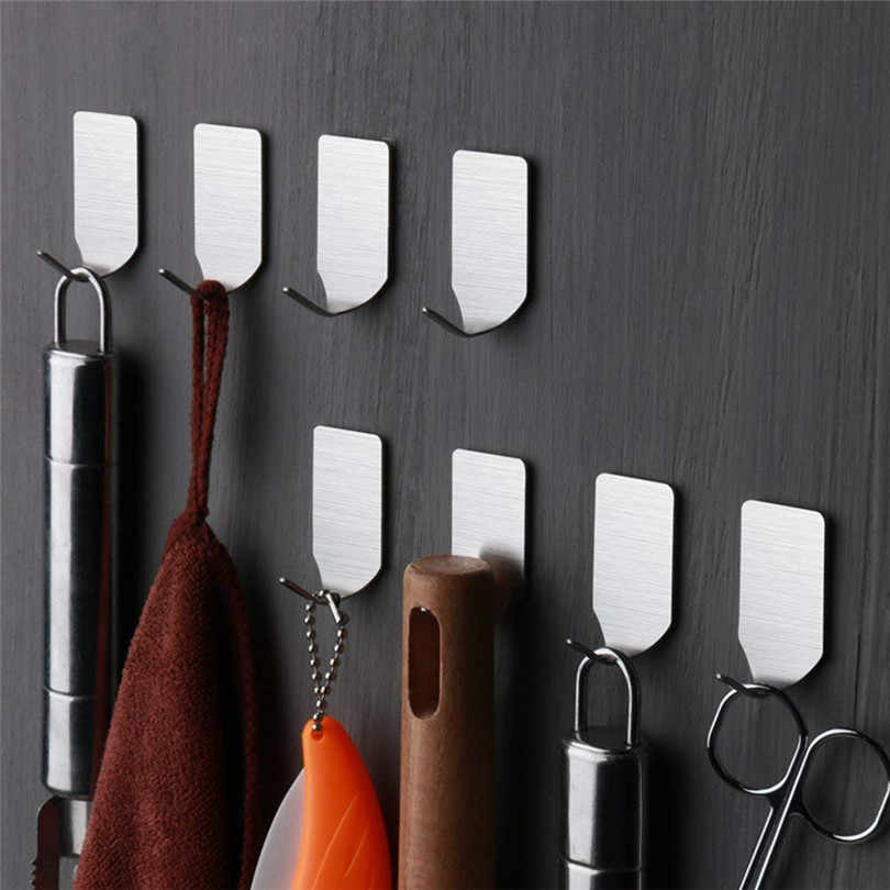 8pcs Self Sticker Adhesive Stainless Steel Hook Wall Door Clothes Bath Home Hanger Holder Kitchen Bathroom Towel Hooks #JJ20