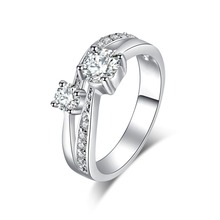 Hot Sale Silver Color Square Vintage Design Clear CZ Big Ring For Women Luxury Crystal Wedding