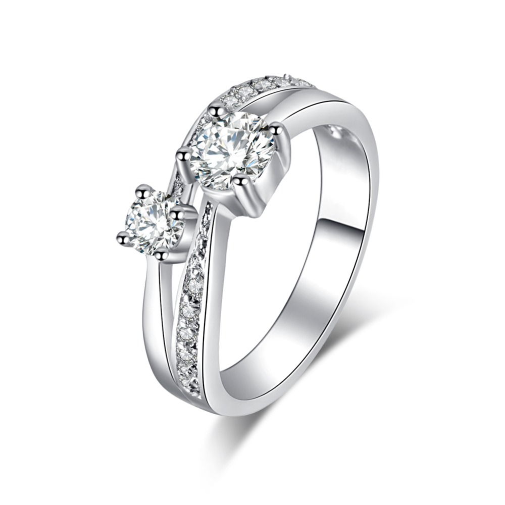 Hot Sale Silver Color Square Vintage Design Clear CZ Big Ring For Women font b Luxury