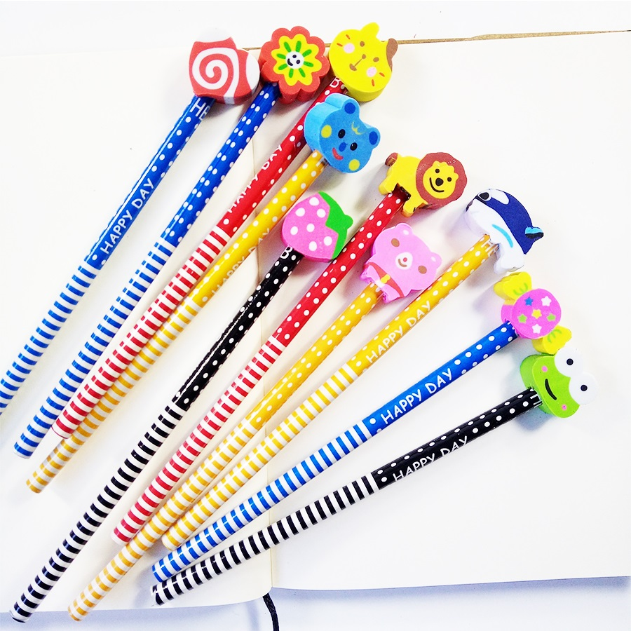 Image 3 - 50 Pcs/lot Wood Gift Pencil With Animals Eraser Head Christmas Gift For Kids Cute Fashion Party Favors Pencil School Suppliesgift pencilfashion pencilf pencil -