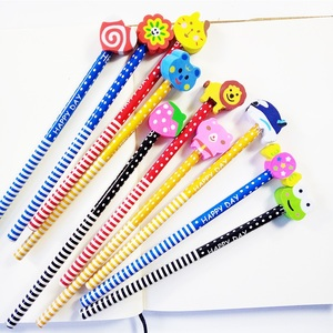 Image 3 - 50 Pcs/lot Wood Gift Pencil With Animals Eraser Head Christmas Gift For Kids Cute Fashion Party Favors Pencil School Supplies