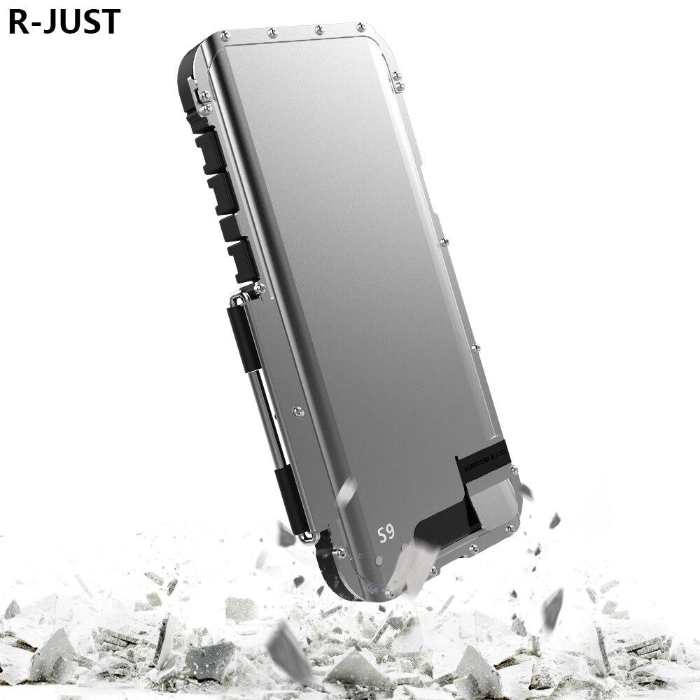 R-JUST Pour Samsung S9 Plus Housse De Luxe Rigide En Acier En Métal Antichoc Étui pour Téléphone Portable étui pour Samsung S9 Couverture Complète Du Corps
