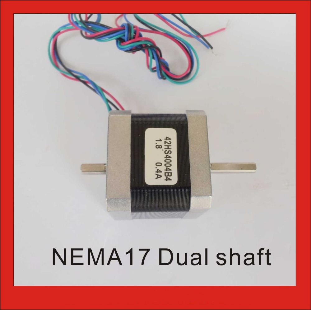 Top grade NEMA 17 Stepper Motor Dual Shaft for CNC 3d Printer 0.4A 56 oz-in Body Length 40mm CE Rohs Stepping Motor dual shaft nema 17 stepper motor 52n cm 72 oz in body length 48mm ce rohs cnc 3d printer motor