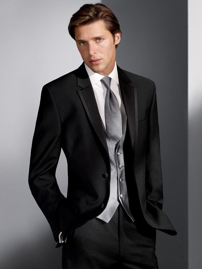 Classic Style Two Button Black Groom Tuxedos Groomsmen Mens Wedding Suits Prom Dress (Jacket+Pants+Vest+Tie) NO:203