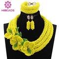 Фантастический Желтый Африканские Свадебные Бусы Комплект Ювелирных Изделий Хрустальный Цветок Случая Ювелирные Колье для Женщин Бесплатная Доставка WE006