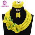 Fantastic Yellow African Wedding Beads Jewelry Set Crystal Flower Occassion Jewelry Necklace Set for Women Free Shipping WE006