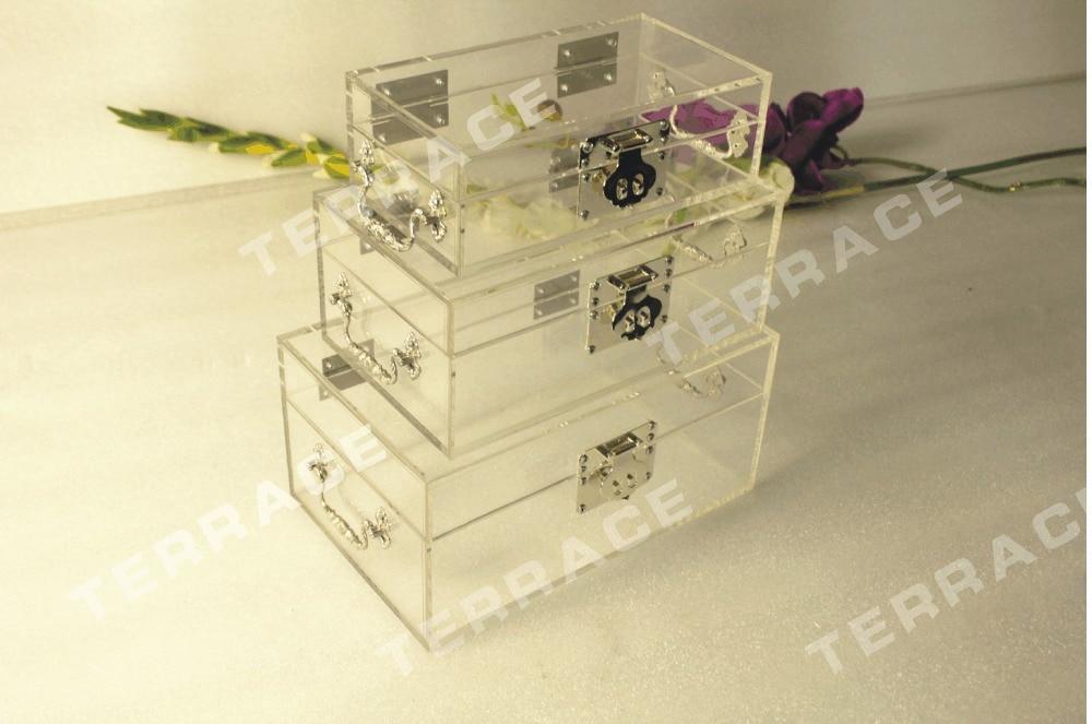 (3pcs/set)Free Shipping Acrylic Jewelry Box ,Lucite storage organizer boxes ONE LUX