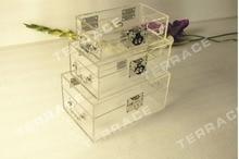 (3 шт./компл.) Бесплатная Доставка Акриловый Jewelry Box, Lucite хранения организатор коробки ОДИН ЛЮКС