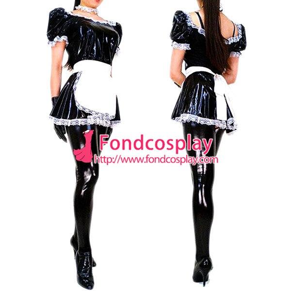 Sissy maid pvc dress lockable Uniform cosplay costume Free shipping////
