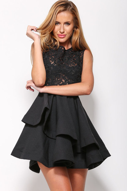 Black White Romance Lace Asymmetric Hem Skater Dress New Fashion Ruffles  Hollow Out Lace Skater Dress Women Night Club Dress 0d1a21e672