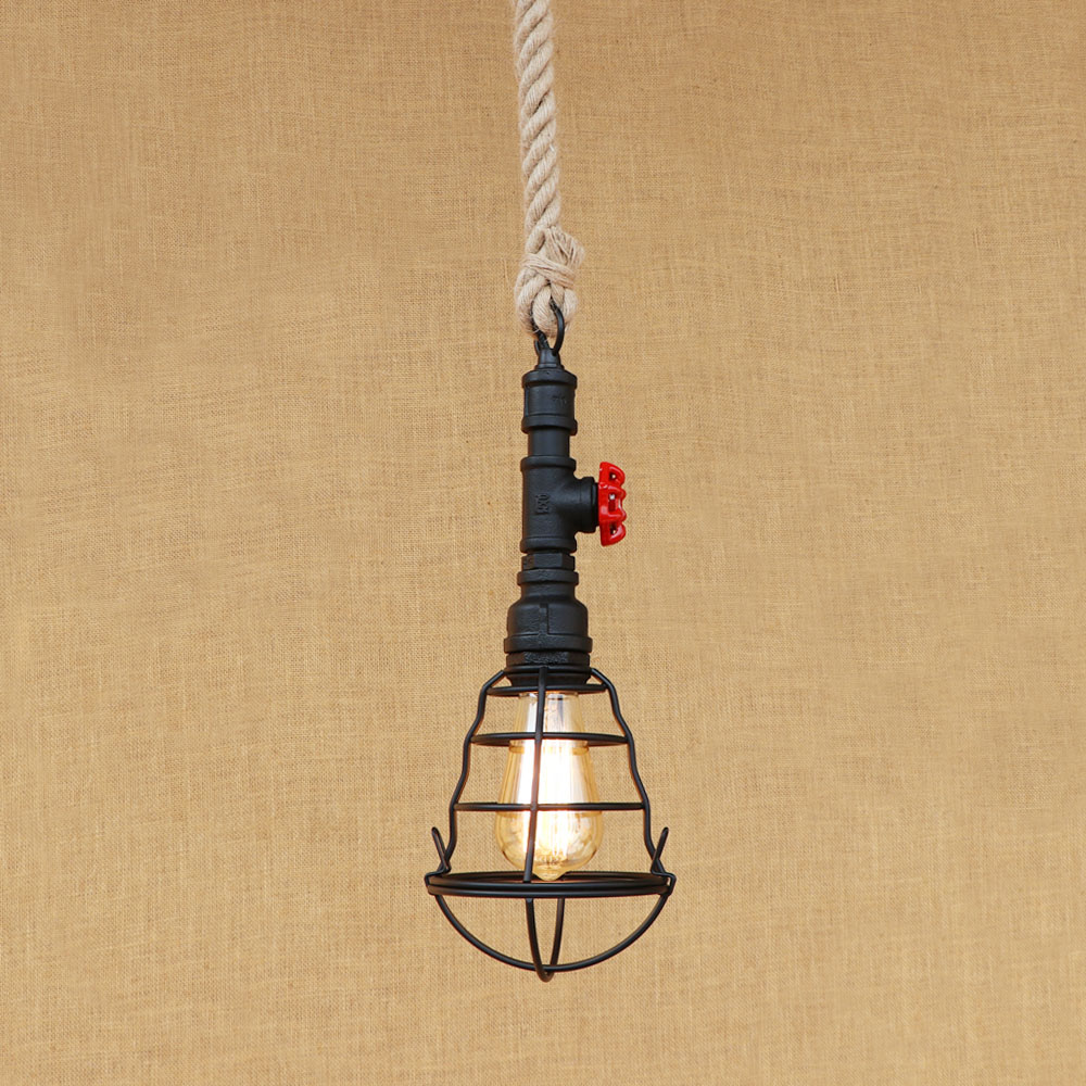 Simple Small Birdcage Shape Hemp Rope Pendent Light Cafe Decoration Iron Black American Country Loft Retro Water Pipe Chandelier
