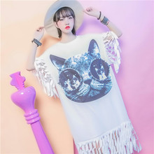Large size womens patch glasses female cat nail bead clipping hollow-out tassel dress