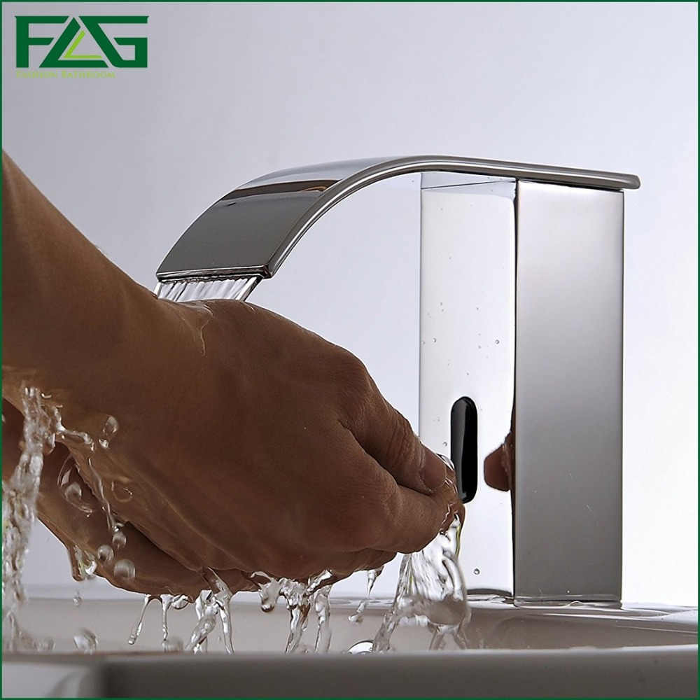 FLG Cold Chrome Bathroom Automatic Touch Free Sensor Faucets Water Saving Inductive Electric Water Tap Mixer Battery Power T20C