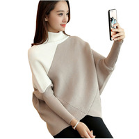 2017 Autumn Winter Female Sweater Student Pattern Bat Sleeve Pullover Thickening Sweater Woman Easy Rendering Sweater