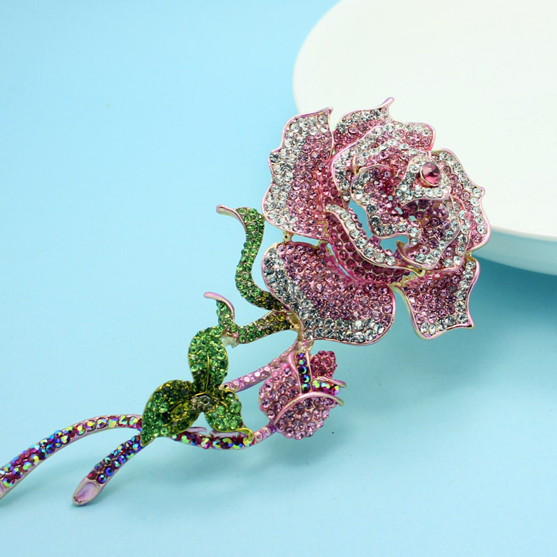 Rose Pink Crystal in Gold Hijab Sarf Hat Pin Brooch