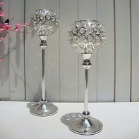 FREE SHIP 2pcs/lot H14inch 12inch Elegant tealight Silver crystal globe candel holder for wedding centerpieces home deocor