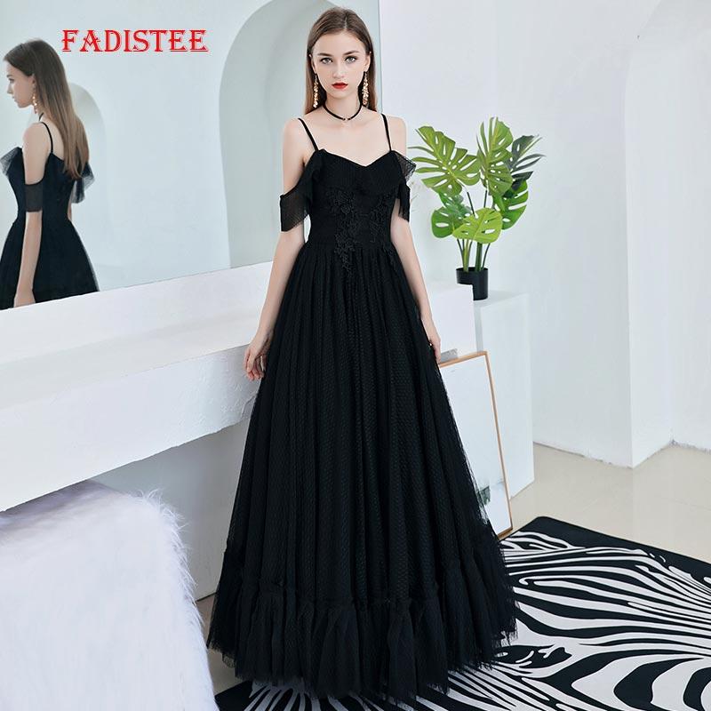FADISTEE Summer Party Dress Prom Dresses Long Dress Vestido De Festa Elegant V-neck Little Black Dresses Evening Formal Zipper