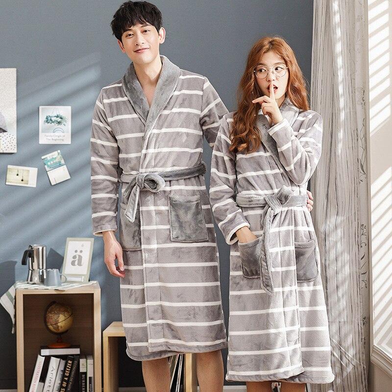 c6dfeb3b83 Brand Winter Lovers Striped Robe Flannel Thickening Coral Fleece Couple  Sleep Lounge Bathrobe Women Bathrobes 3XL Home Clothing-in Robes from  Underwear ...