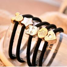 10 Pcs New Fashion Popular Black Elastic Hair Bands For Ladies Band Rope Candy Colored Bracelet Large size Scrunchy