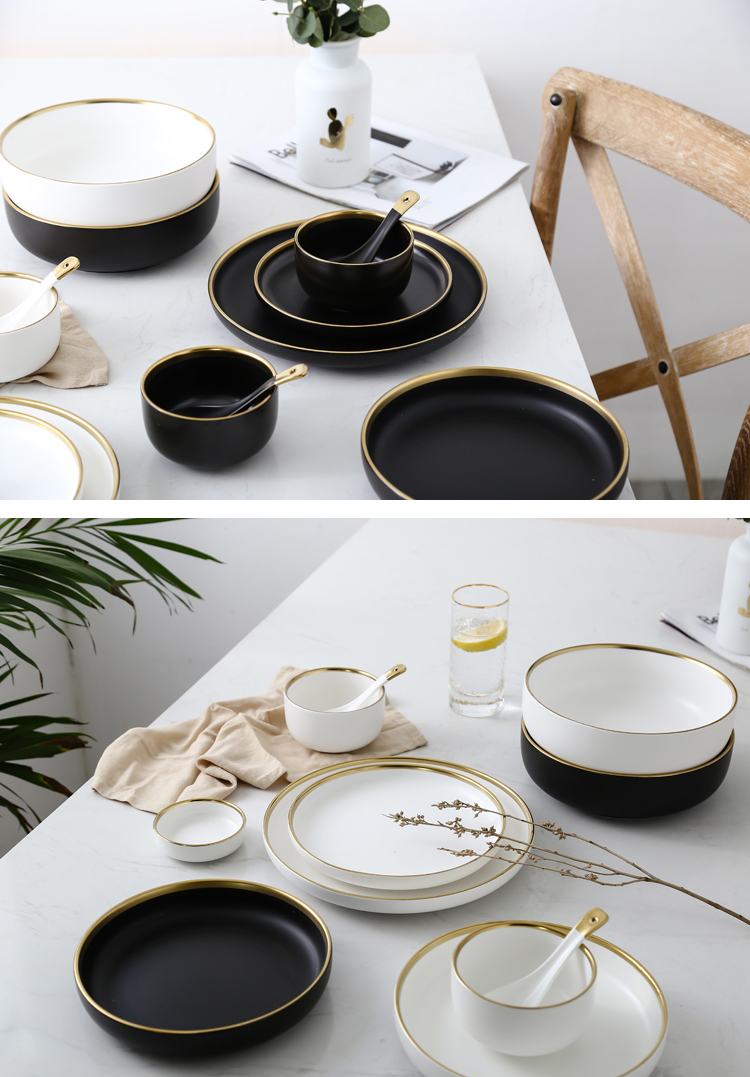 White And Black Round Gold Stroke Ceramic Dinner Plate Set Porcelain Steak Tableware Rice Soup Bowl Spoon Dish Home Decoration