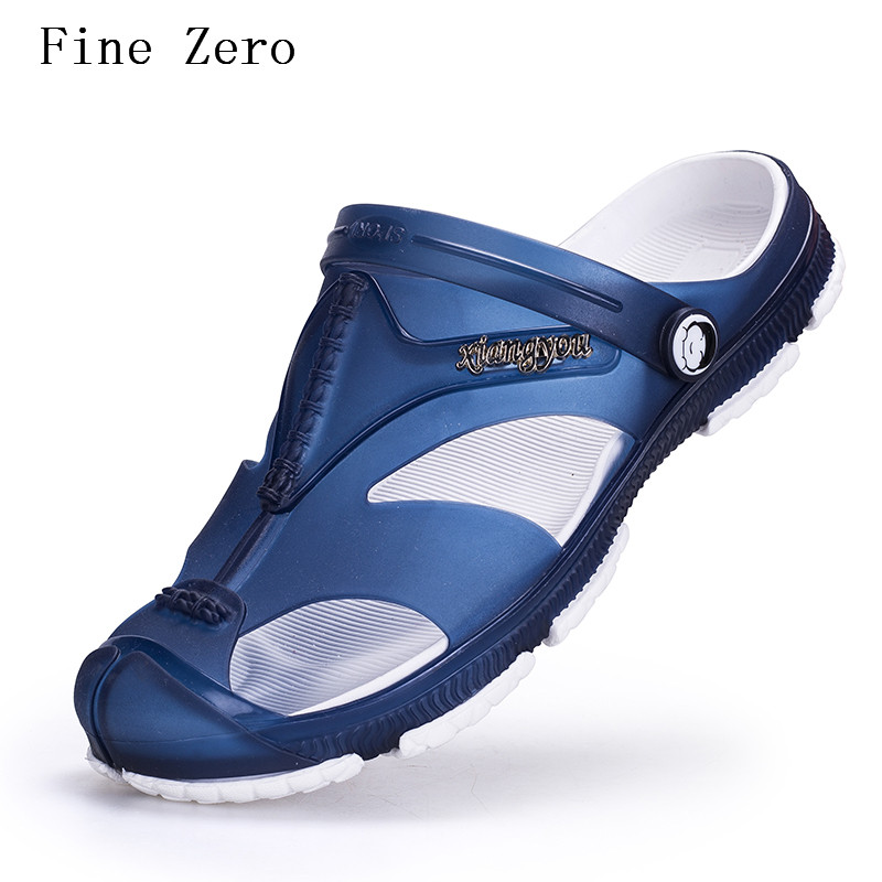 Fine Zero Summer Beach Shoes Sandals 2017 Fashion Designers Men Sandals Brand Leather Slippers For Men Zapatos Sandalias Hombre