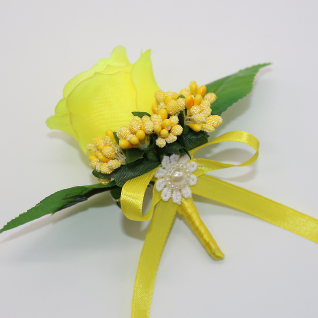 2 pcslot handmade yellow silk rose artificial flowers bridegroom 2 pcslot handmade yellow silk rose artificial flowers bridegroom brooch boutonniere bride bridesmaid corsage mightylinksfo
