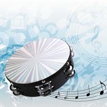8'' Musical Tambourine Reflective Percussion Double Row Jingle Church Band Musical Instruments Party Band School Accessories