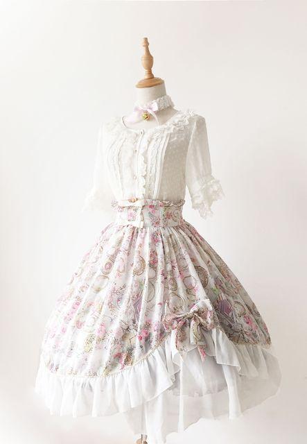 adbc88e27e Gorgeous Asymmetrical Design A Line Lolita Skirt  Antique Clock  Series Sweet  Lolita Ruffled SK
