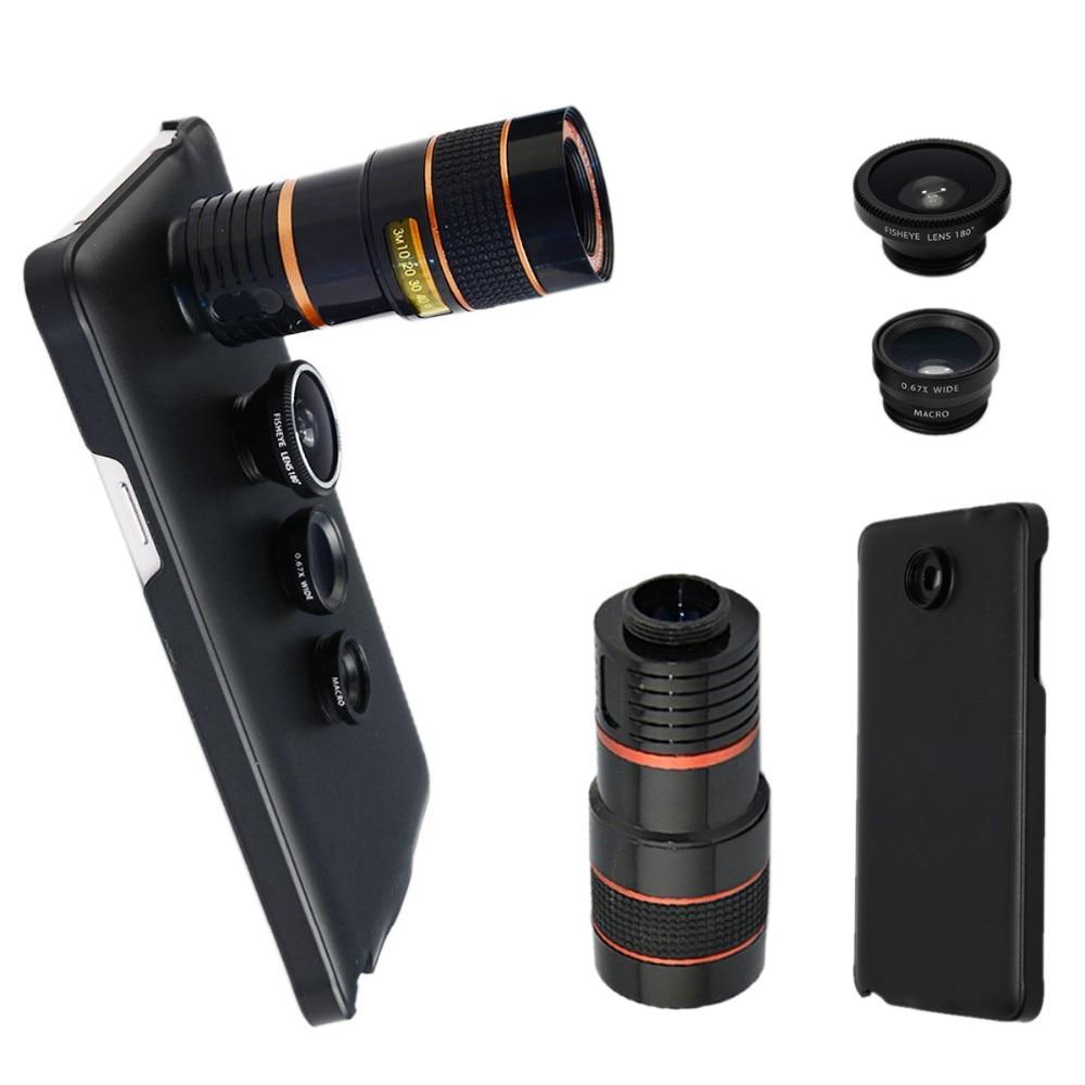 imágenes para 4 en 1 Lente de la Cámara para Samsung Galaxy Note 5 Zoom 8X telescopio + Lente ojo de pez + Gran Angular y Lente Macro con Cubierta CL-19B85