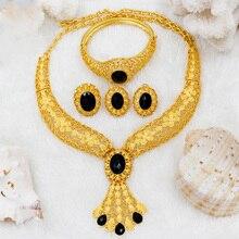 דובאי תכשיטי סטי אופנה נשים 24 זהב תכשיטי סט שחור קריסטל שרשרת טבעת עגילי אפריקאי כלה תכשיטי חתונה