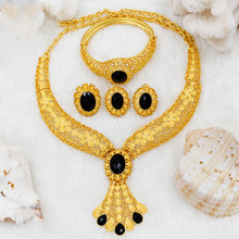 Dubai takı seti s moda kadınlar 24 altın takı seti siyah kristal kolye yüzük küpe afrika gelin düğün takısı