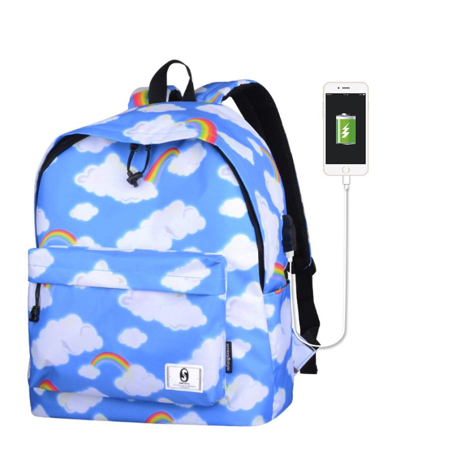 USB Charge 3D Sky Backpack 30L Travel School Student Backpack Women Anti Theft Backpacks Large Capacity Casual Daypack Bag #30