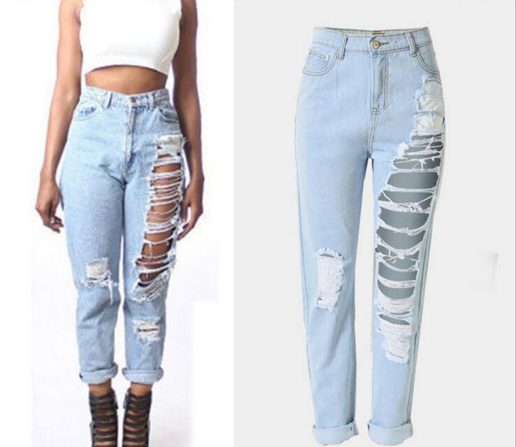 Hot Sale Ladies Cotton Denim Ankle Length Pants Stretch Hole Womens Bleach Ripped Loose Ninth Pants