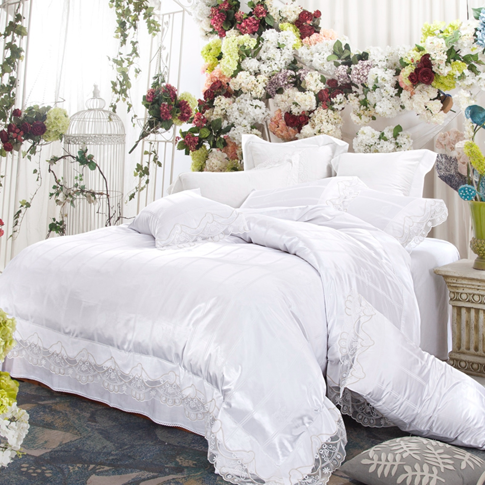 Bed sheets for wedding - Wedding White Duvet Cover Set For Adults 100 Cotton Duvet Cover Satin Bed Sheets Bedding Lace Pillow Case Queen King Bedclothes