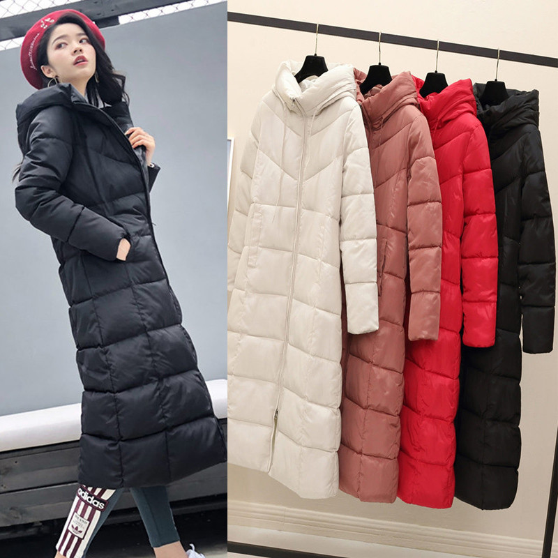 2018 Winter Thickening Cotton Padded Women Jackets Female   Parkas   With Hooded Windproof Warm Slim Solid Long Coat Outwear A1654