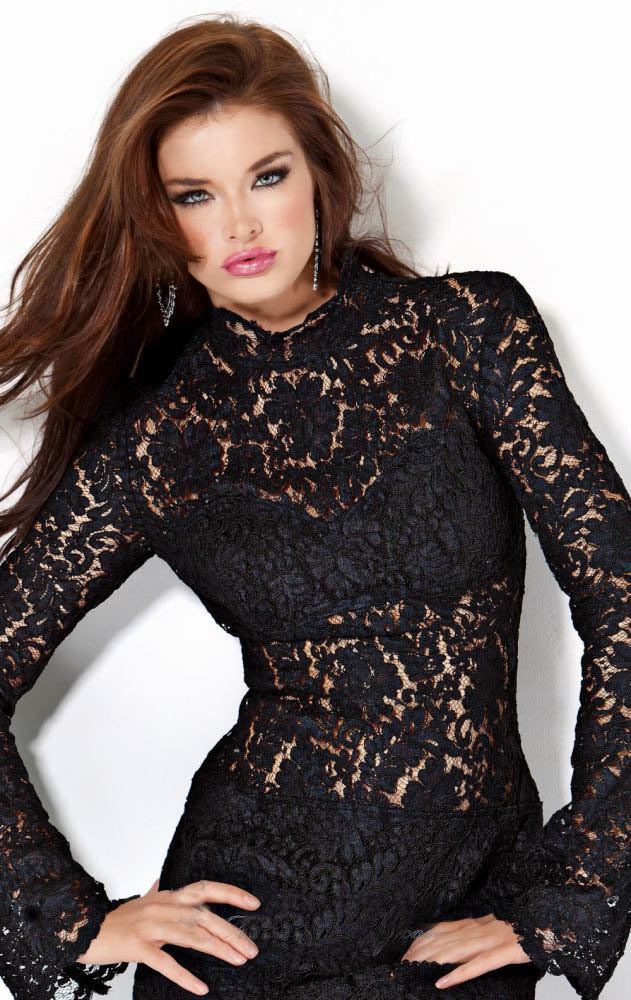 Vogue Tempting Trendy Sexy Sheath Cocktail Dress Gown Club Wear Women Dress High Collar Lace Fabric Applique Long Sleeves Black