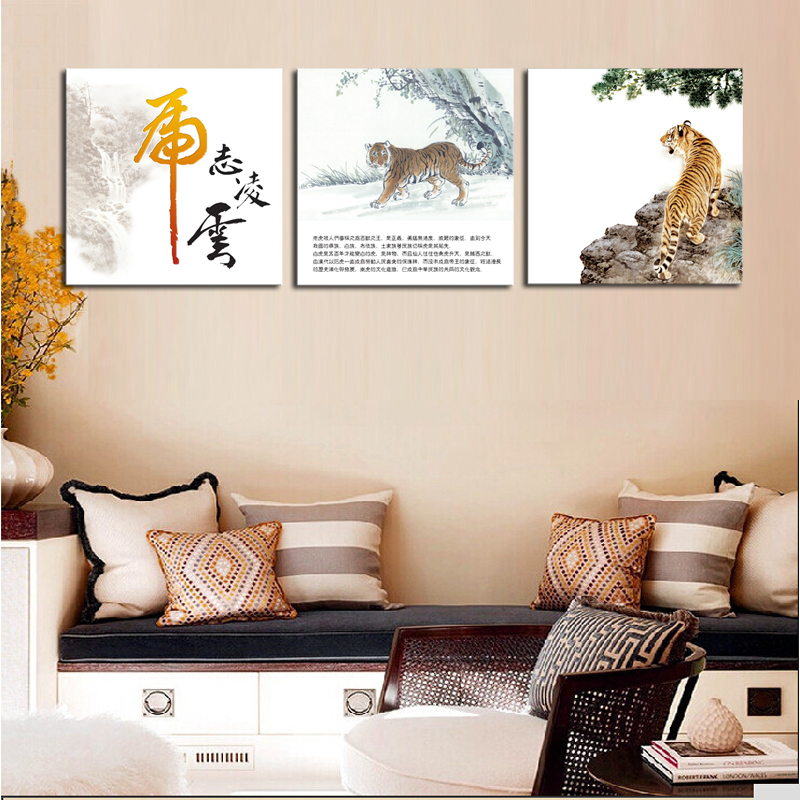 Unframed 3 Sets Canvas Painting Red South China Tiger Wall Pictures For Living Room Large Hd