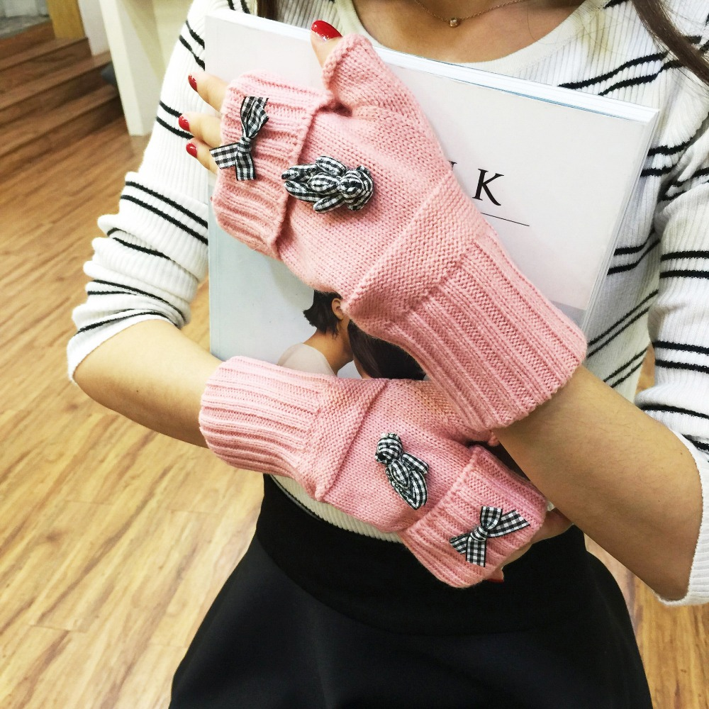 Bowknot Women's Knitted Gloves Wrist Arm Warmer Winter Spring Fingerless Knit Mitten