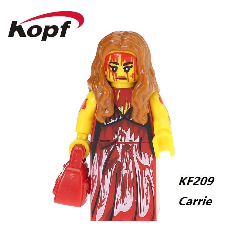 цена  The Horror Theme Movie Carrie Exorcist Clockwork Orange Bruce Banner Jeepers Creepers Building Blocks Children Gift Toys KF209  онлайн в 2017 году