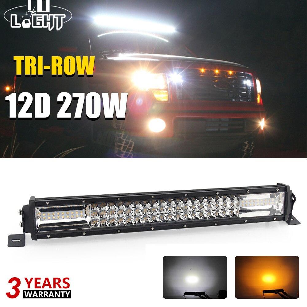 Со светом 12D 270 Вт 22 дюймов Offroad светодио дный бар 3-ряда белый/желтый стробоскоп светодио дный Подсветка для Jeep 4WD грузовик 4x4 ATV Автомобильная ...
