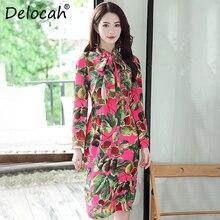 13fb4ca868d8708 Delocah Новое 2018 женское осеннее платье для подиума модный дизайн с  длинным рукавом бант воротник фрукты