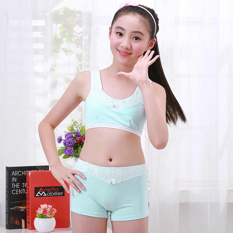 63ed53661cb8 ... Girls Clothing Teenage Children Cotton Underwear Set Training Bras  Camisole vest & panties boxer Puberty Young ...