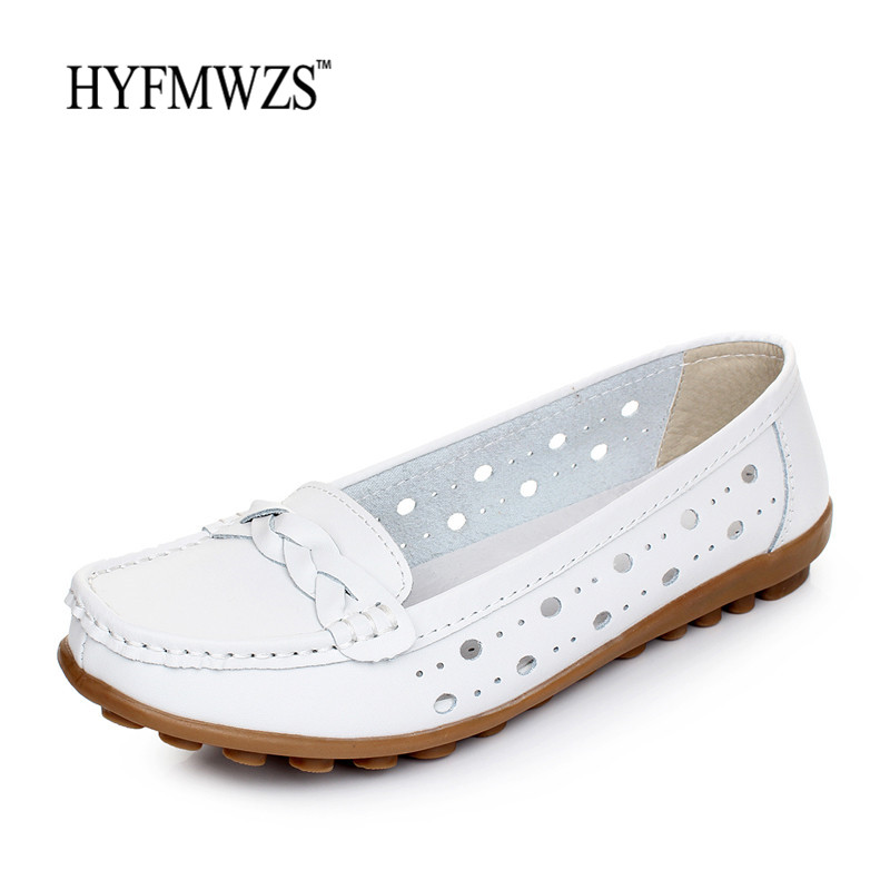 HYFMWZS High Quality Fashion 2017 Spilt Leather Flat Shoes Women Hole Flats Ballet Shoes Woman Slip On Shoes For Women Footwear 2017 new fashion women summer flats pointed toe pink ladies slip on sandals ballet flats retro shoes leather high quality