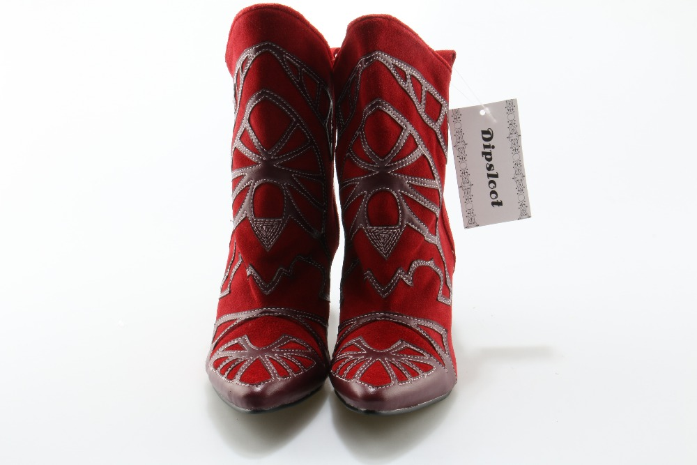 Dames Dipsloot Robe Bout on Piste Boot De Pictures Slip Femme as As Pour Talons Court Mode Pointu Cheville Chaussures Pictures Broderie Bottes Pointes 6rCg6wxq